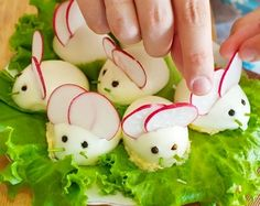 Bunny deviled eggs! I love deviled eggs and these are just too cute for any Easter party!