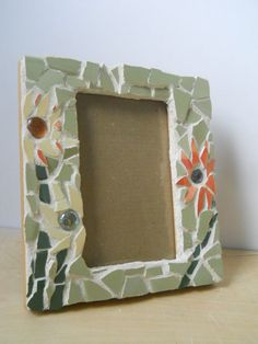Flowers with glass beads Mosaic Picture Frame made by GingerPots, $26.00