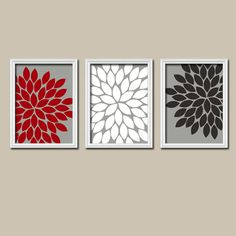 Red White Black Grey Charcoal Flower Burst Dahlia Bloom Artwork Set of 3 Trio Prints WALL Decor Abstract ART Picture Bedroom Bathroom
