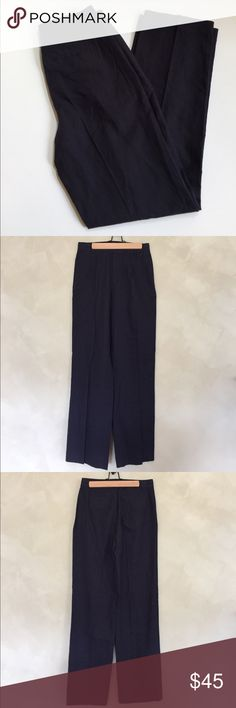 "NWT J.Crew linen trousers pants This is a pair of NWT J.Crew navy blue linen trousers. Size 2. Approximate length is 42"", approximate inseam is 31"", and approximate waist measurement when laid flat is 14"". There are two front pockets, two back pockets, and a zipper fly with hook and loop closure. Wide leg, high waisted, pleated. Sits above waist. Straight through hip and thigh, with a wide leg. J. Crew Factory Pants Trousers"