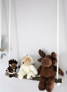 Store Stuffed Animal Collections on a branch swing from ropes, ladder up a wall or go around the room. via ApartmentTherapy.com