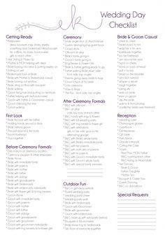 wedding checklist day of