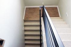 All the Details on our New Horizontal Stair Railing! Modern Stair Railing, Stair Railing Design, Stair Handrail, Modern Stairs, Tile Stairs, Metal Stairs, House Stairs, Carpet Stairs, Stone Front House