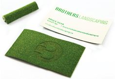 Canadian landscaper's business card is die-cut astroturf. Damn, that's good. | 20 Uniquely Brilliant Business Cards