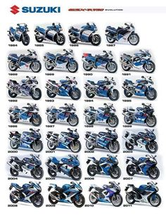 Suzuki Motorcycles GSX-R 750 evolution 1984 - 2011 looks like some awesome bikes More