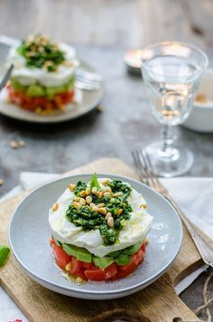 Caprese new style *. Healthy Recepies, Healthy Snacks, Healthy Eating, Veggie Recipes, Appetizer Recipes, Cooking Recipes, Appetizers, I Love Food, Good Food