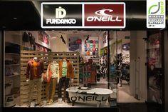 Fundango & O'Neill windows 2014 Spring, Budapest – Hungary Window Display Retail, Retail Merchandising, Retail Space, Budapest Hungary, Retail Shop, Pet Store, Retail Design, Store Design, Pallets