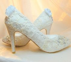 $325 … Twinkle Toes Lace Wedding Shoes with 3 3/4 inch heel and almond toe