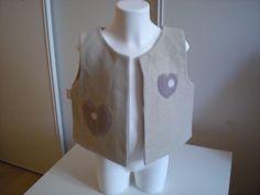 gilet sans manche pour fille lainage beige et polaire 4 ans : Mode filles par nany-made