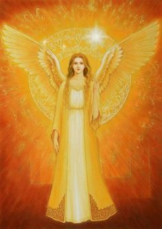 Golden Angel by Hiroyuki Satou Angels Among Us, City Of Angels, Types Of Angels, Angel Guide, I Believe In Angels, My Guardian Angel, Divine Light, Angel Pictures, Angel Art