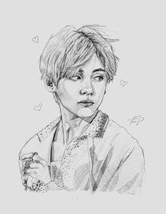 ideas drawing pencil bts for 2019 Kpop Drawings, Art Drawings Sketches Simple, Pencil Art Drawings, Drawing Ideas, Fanart Bts, Taehyung Fanart, Inspiration Art, Art Inspo, K Pop