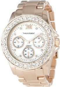 Vernier Women's VNR11146RG Boyfriend Mother-Of-Pearl Crystal Bracelet Watch: Watches: Amazon.com