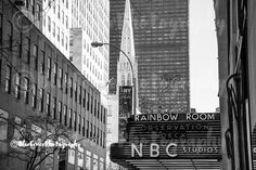 Rainbow Room, NBC, Rockefeller Center, Saint Patrick's Cathedral, Art Print, Home, Wall Decor, New York City, Black and White, Sizes Available from 5x7 to 20x30. A great photo of the Rockefeller Center Marquee to the Rainbow Room and Observation Deck. The beautiful steeple to St Patrick's Cathedral is in the background. ***Photo comes un-matted and un-framed. Photos are shown in a room setting and are for size comparison. Last photo is a size comparison chart, is not the photo you are...