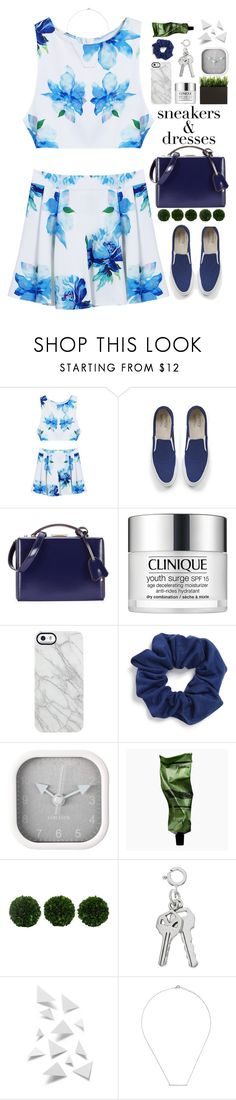 """""""sneakers & dresses"""" by jennk-995 ❤ liked on Polyvore featuring Maison Kitsuné, Mark Cross, Clinique, Uncommon, Natasha, Karlsson, Aesop, WALL and Ingenious Jewellery"""