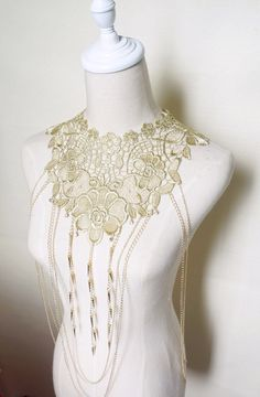 large golden floral lace chain beaded bib necklace / spike beaded /wedding jewelry  //oversized choker / art deco retro // gift for her
