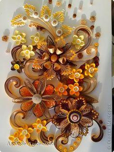 Картина панно рисунок 8 марта Квиллинг цветочная композиция Бумажные полосы Бусинки фото 1