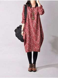 Cotton Linen  Looses Long Sleeve Dress Large Size Dress - Buykud- 3