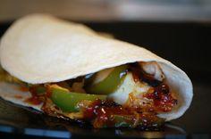 BBQ chicken fajitas using sweet baby rays good and easy!