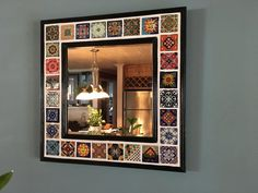 Decorative Mexican Talavera Tile Beveled Mirror in Classic Black Frame - 20 in. x 20 in. Also in Var Mirror Tiles, Beveled Mirror, Wall Mirror, Home Decor Mirrors, Home Decor Furniture, Door Frame Molding, Monogram Wall Hangings, Tile Crafts, Mirror Crafts