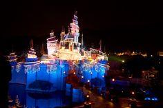 Tinker Bell Castle at Hong Kong Disney at night
