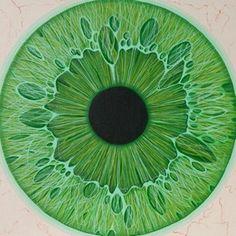 "Green Eyeacrylic on canvas board, 10""x10"""