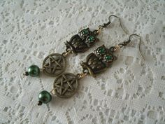 Goddess Athena Owl Pentacle Earrings, wiccan jewelry pagan jewelry wicca jewelry goddess jewelry witch metaphysical witchcraft pentagram by Sheekydoodle on Etsy