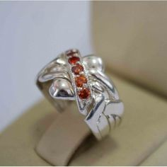 Sterling Silver 5 Band 0.18ct Garnet Turkish Puzzle Ring - Sizes 5 to 13 #Dimenticare #Band