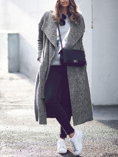 Long Grey Lapel Winter Coat with Pockets