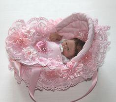 "cradle crib for doll 5"" www.ebay.com/... clothes, ooak, doll, vintage"