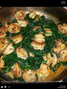 Sautéed shrimp and spinach