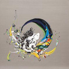 Katrin Fridricks: ziwschen japanischer Kalligraphie, Pop Art, abstraktem Expressionismus und Graffiti.