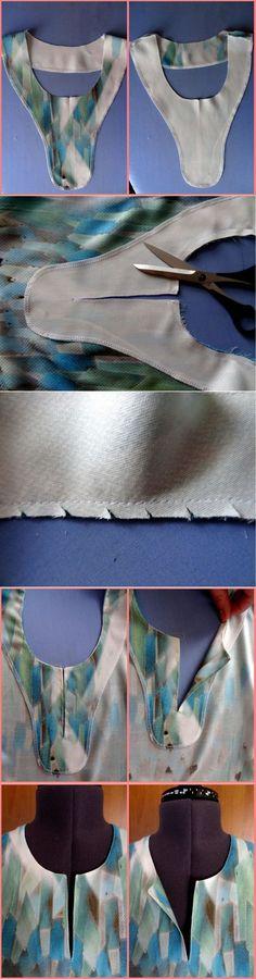 Обработка горловины с разрезом / BurdaStyle: мастер-классы
