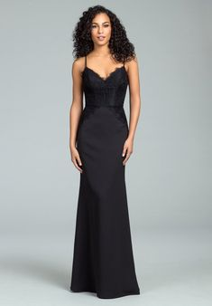 a66e05d77037 Hayley Paige Occasions 5814 Floor Length Lace and Crepe Bridesmaids Dress