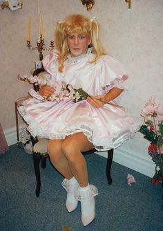 Cute Little Pink Satin Sissy  Dress ... Add an Apron and Cap and you have a…