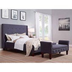 Upholstered Wingback Tweed Queen Bed, Grey