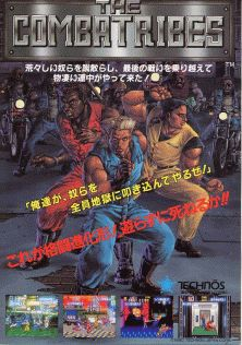 "The Combatribes - 1990 beat 'em-up game released for the arcades by Technos Japan Corp. A home version for the Super Nintendo was also released in 1992. The game centers on 3 vigilantes (identified as cyborgs in the SNES port) who must fight against numerous street gangs in futuristic New York City. player takes control of 1 of 3 strongmen, the titular ""Combatribes"": Berserker, Bullova & Blitz."