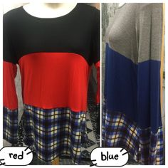 """COLOR BLOCK TOP WITH LACE TRIM This top is adorable! RED OR BLUE Plaid bottom with color block top AND lace trim right down the middle of the back! 95% rayon/5% spandex. Made in USA🇺🇸NWOT.                                                   ♦️1X: bust 42"""" waist 43"""" hips 49""""                                  ♦️2X: 46-44-51""""  ♦️3X: 49-46-53""""                                             ♦️LENGTH:33-35"""" frt 34.5-36.5"""" tla2 Tops"""