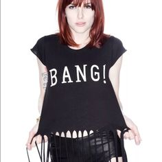 """Wildfox Fringe  BANG  Crop Top Wildfox Couture Bang Crop Top ... Brand New - Never Worn ... Easily fits a Xs-Med ... Milly my model is 5'0"""" ... Open to All Offers  comes from a nonsmoking with fluffy furkids home Wildfox Tops Crop Tops"""