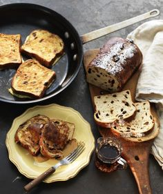 Cinnamon raisin bread French toast drizzled with maple syrup.