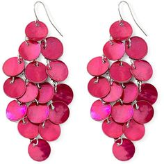 Mixit? Shell Chandelier Earrings Fuschia ($14) ❤ liked on Polyvore featuring jewelry, earrings, accessories, pink, brincos, fuschia jewelry, pink jewelry, chandelier earrings, fuschia earrings and chandelier jewelry