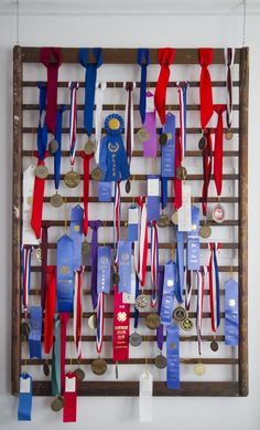 Medal & Ribbon Display - Love this for swim ribbons - re-purposed crib side Trophy Display, Award Display, Award Ribbon Display, Swim Ribbons, Boy Room, Kids Room, Horse Show Ribbons, Trophies And Medals, Medal Holders