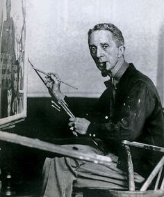 1961-Norman Rockwell at canvas