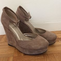 Suede ankle strap wedges Worn 2 times. There are scuff marks. Make me an offer! Forever 21 Shoes Wedges