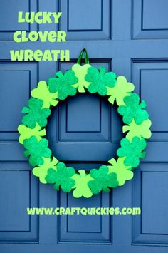 Lucky Clover Wreath - Simple to make but so cute for your front door! #stpatricksday