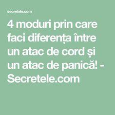 4 moduri prin care faci diferența între un atac de cord și un atac de panică! - Secretele.com Alter, Cord, Math Equations, Health, Ideas, Cable, Health Care, Cords, Thoughts