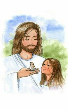 Jesus and the sparrow and little girl - Christian Children's Art Print - Available with or without Scripture Jesus Art, God Jesus, Jesus Father, God Loves Me, Jesus Loves Me, Claudia Tremblay, Gods Princess, Jesus Is Risen, Pictures Of Jesus Christ