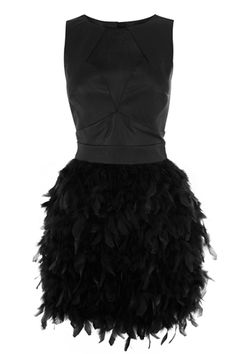Cocktail Party Dresses: Warehouse Leather & Feather Dress, available at Warehouse. Mint Dress Outfits, Chic Black Outfits, Casual Dresses, Short Dresses, Black Formal Dress Short, Formal Wear, Cocktail Attire For Women, Feather Dress, Stunning Dresses