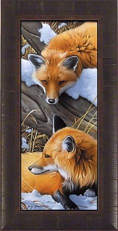 """""""FOXES"""" by Jerry Gadamus FRAMED ART PRINT Red Fox Signed & Numbered LE 