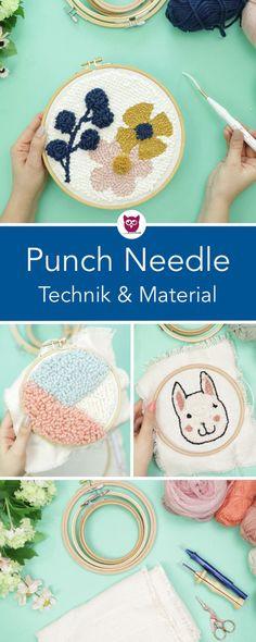 Blumen Cat Cheery Punch Needle Starter Kits DIY Basteln mit Stickstift Hoop