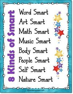 Free poster of the 8 Kinds of Smart (kid-friendly multiple intelligence names). Includes a black and white version, too!